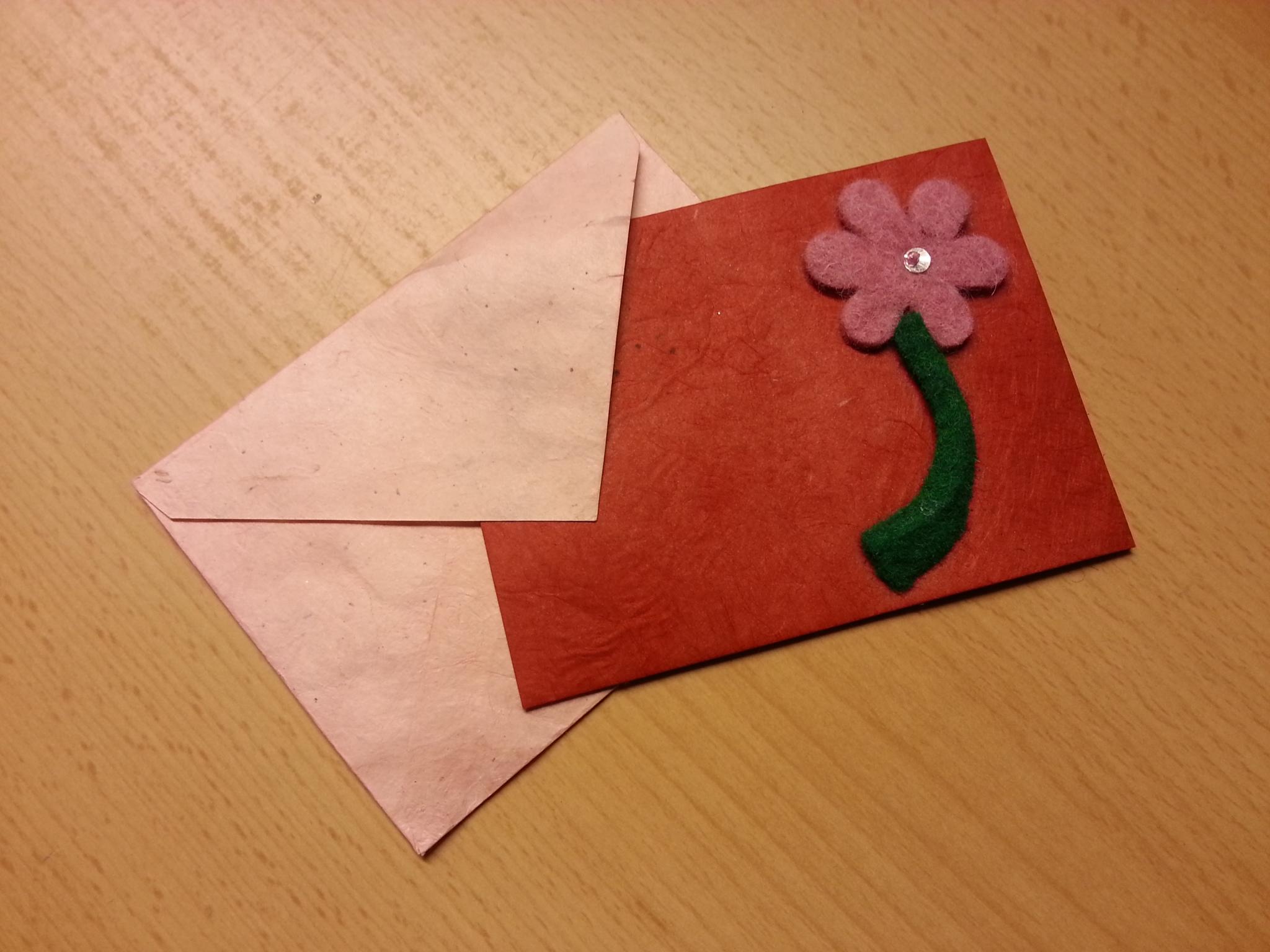 Faltkarte mit Filzblume
