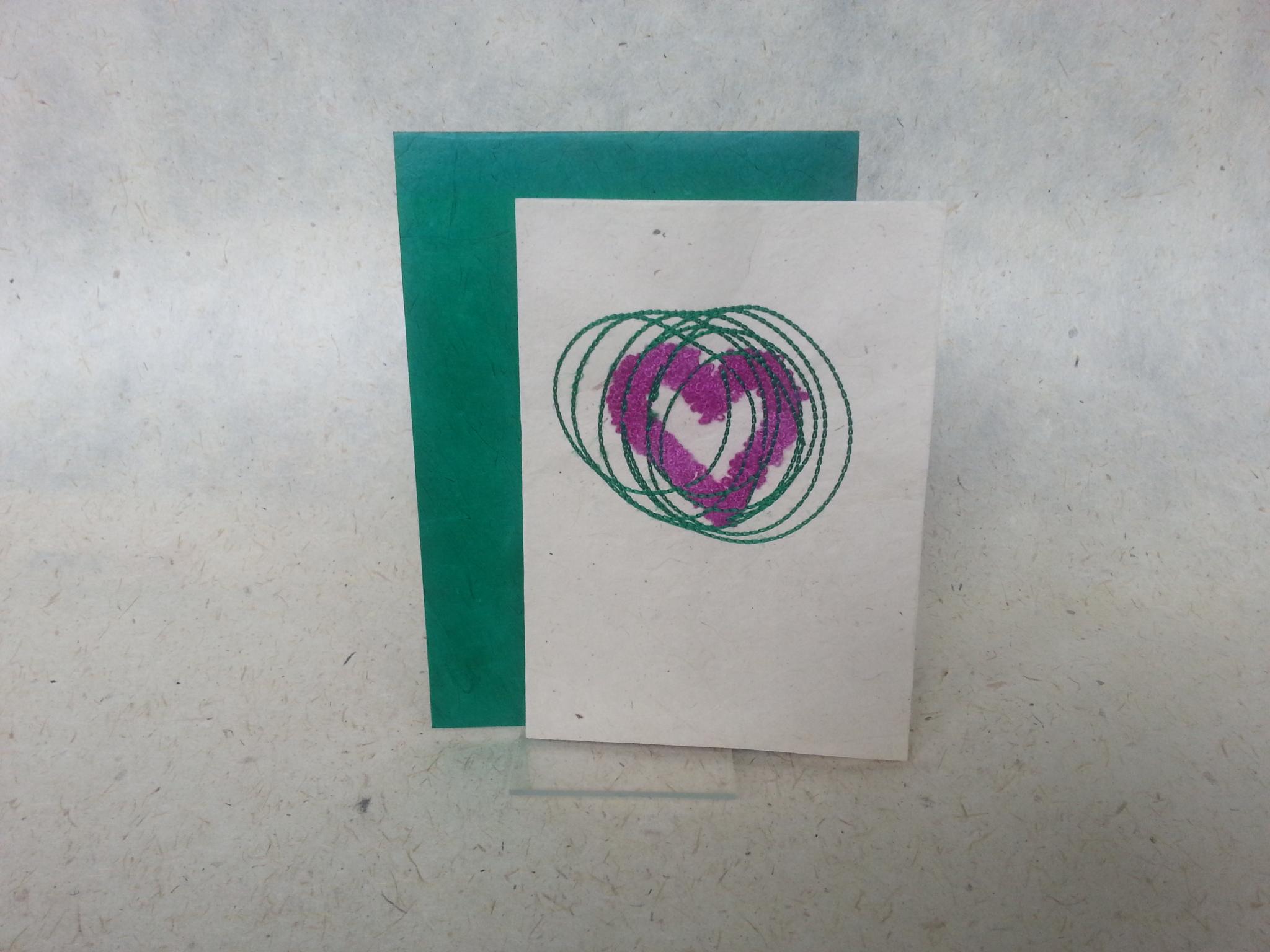Faltkarte Herz in Fuchsia